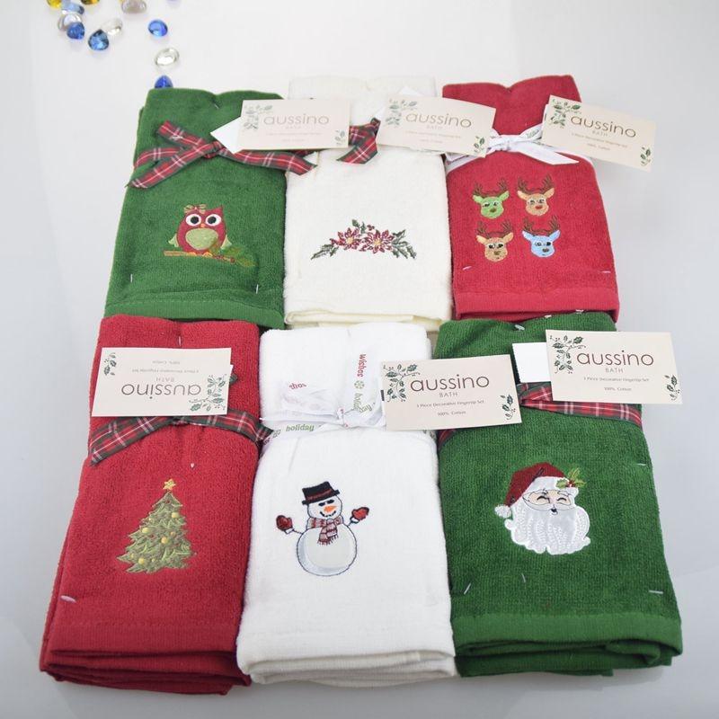 3pcs Decorative Fingertip Set Luxury Cottontowel Christmas
