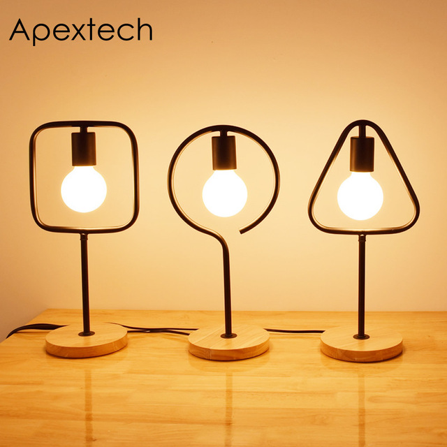 Apextech Iron Wood Base Desk Lamp E27 Socket Geometric Shaped Table