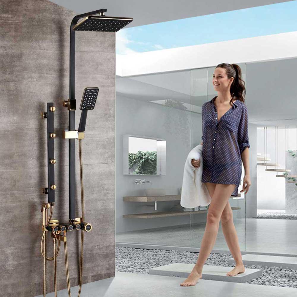LED Shower Panel Tower Massage Jets Hand Shower Tub Bidet Sprayer  Set Mixer Tap