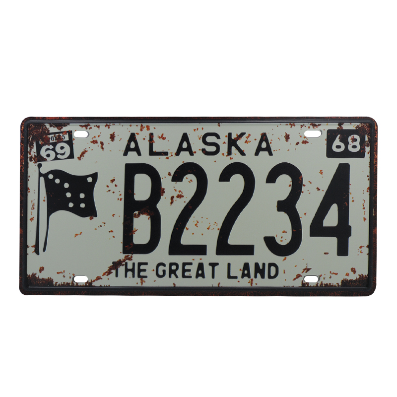 Fine Us 2 7 35 Off Usa Alaska B2234 Metal Car License Plate Vintage Home Decor Metal Tin Sign Bar Wall Decorative Metal Sign Cool Metal Plaque In Plaques Home Interior And Landscaping Ologienasavecom