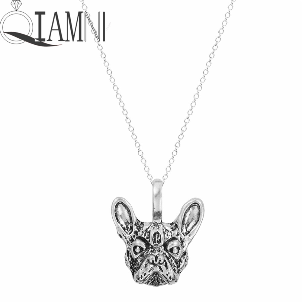QIAMNI Handmade French Bulldog Face Dog Puppy Pet Lovers Animal Unique Necklaces & Pendants Gift for Women and Girls