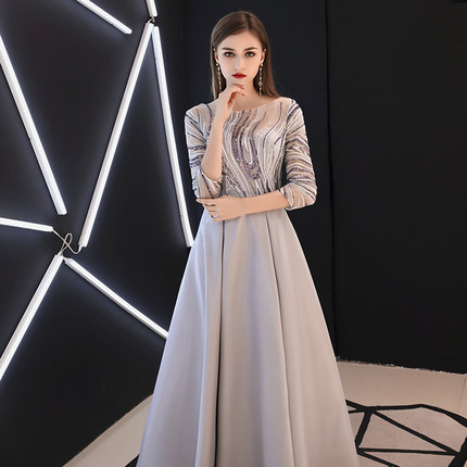 Elegant EveningUp.Sky Dress Long See Though Back Formal Dresses Occasion Party Dresses With Belt 2019 New