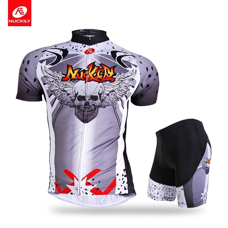 ФОТО Nuckily summer short sleeve full zip cycling wear breathable set for men AJ210BK269