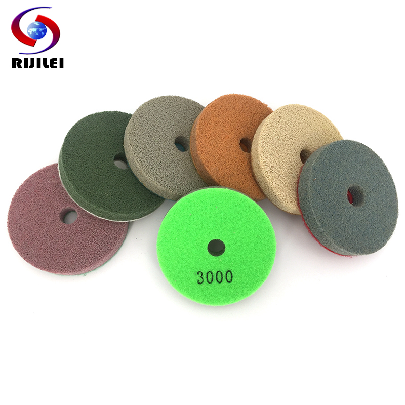 (4FP6) 7 Pieces/lot 100mm Sponge Polishing Pads For Granite And Marble 4inch Concrete Floor Polishing Pad Foam Grinding Disc