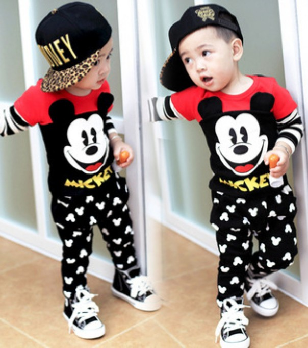 Children Suits Fashion MICkeY Baby Clothing Set Girls Boys MiNnIE Clothes Sets Kids Cotton Pullover Shirts+pants Christmas 2pcs