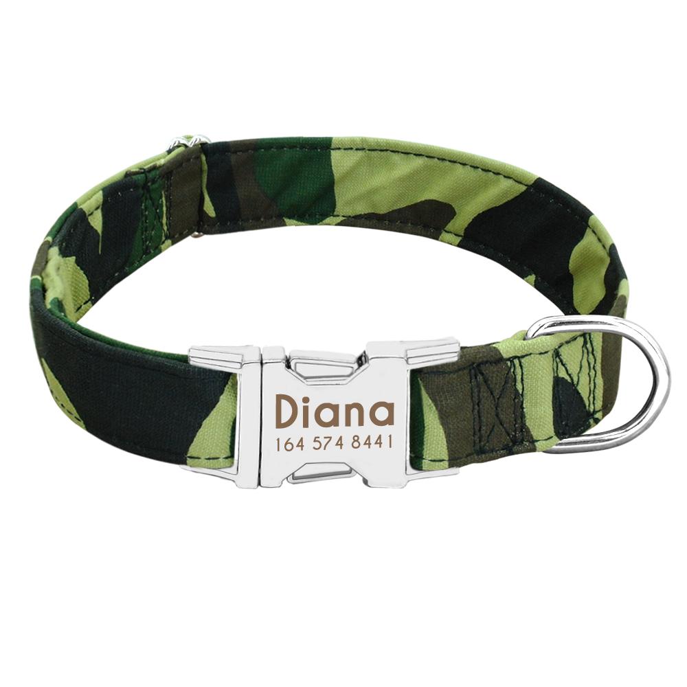 Collar de perro de Nylon personalizado con placa de identificación grabada 23