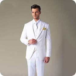 Белый Slim Fit Для мужчин Нарядные Костюмы для свадьбы индивидуальный заказ смокинг жениха широкий максимумом нагрудные мужской пиджаки из 3