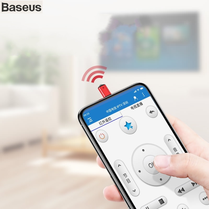 BASEUS Brand IR Remote Controller For iPhone XS Max XR X 8 Plus 7 Smart infrared Remote Control for TV Air-condition DVD STB Fan for iphone xs max xr xs x selfie stick for iphone x 8 7 6 6s plus 5 5s wired selfie stick extendable monopod for lightning