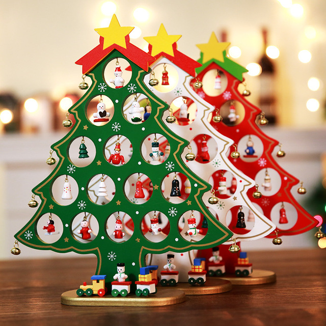 New Mini Wooden Christmas Tree With Bells Dolls Decor Desktop Crafts Diy Mini Christmas Tree Ornaments Window Display Decoration