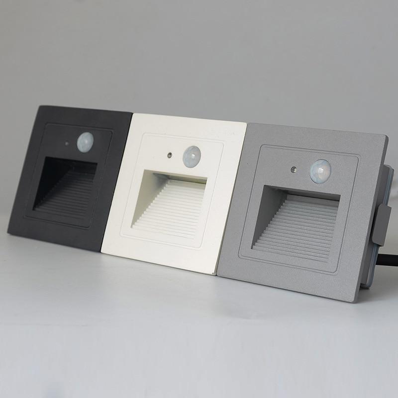 IP65 PIR Motion Detector + Light Sensor Led Step Stair Lights Outdoor Footlight Recessed Corner Wall Lamp Exterior Garden Light
