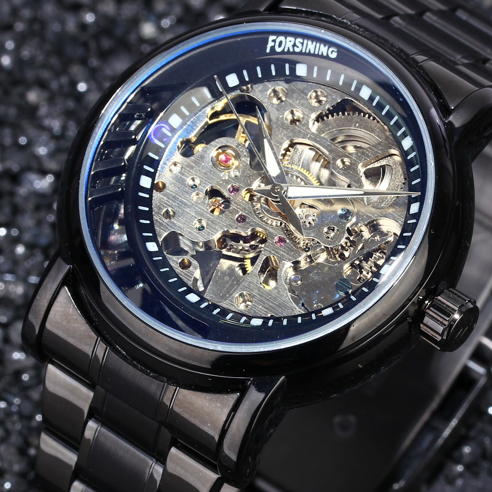 2017 New Fashion Automatic Mechanical Skeleton Watches Men 's Top Brand Luxury Stainless Steel Cool Black Wristwatch Clock