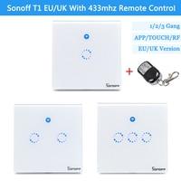 T1 UK EU Smart WiFi RF APP Touch Control Wall Light Switch 86 Type 1 3