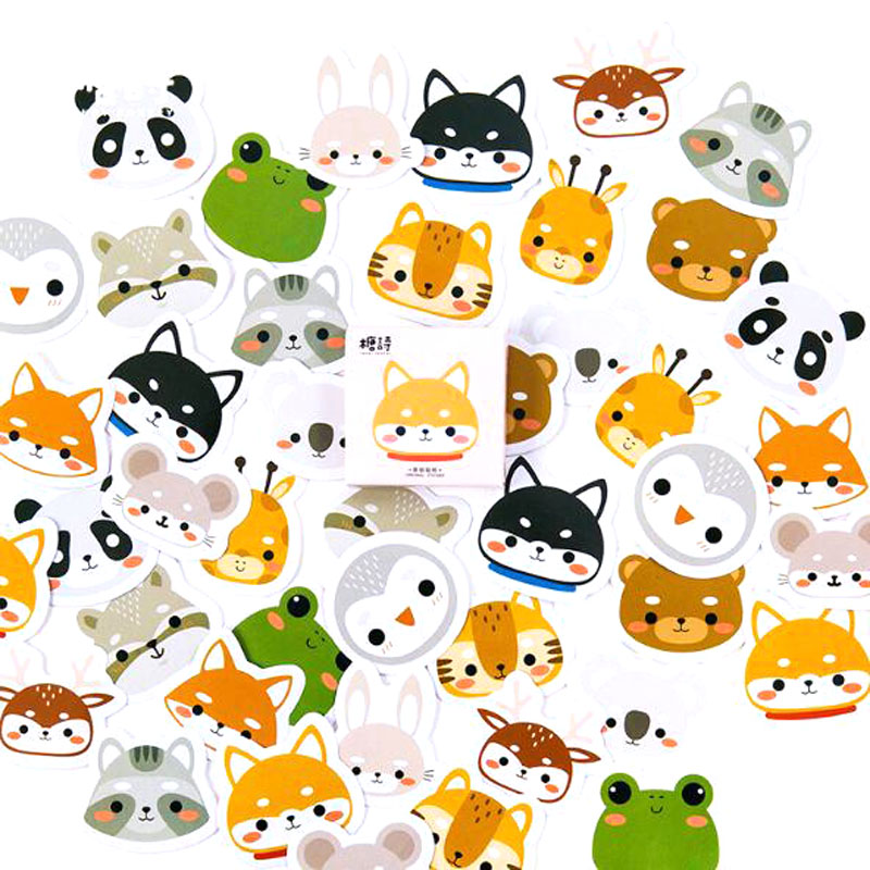 45pcs Adorable Cute Animal Head Pet Boxed Sticker Lovely Cartoon Diary Album Lovely Seal Decoration DIY Stickers Kids Gift45pcs Adorable Cute Animal Head Pet Boxed Sticker Lovely Cartoon Diary Album Lovely Seal Decoration DIY Stickers Kids Gift