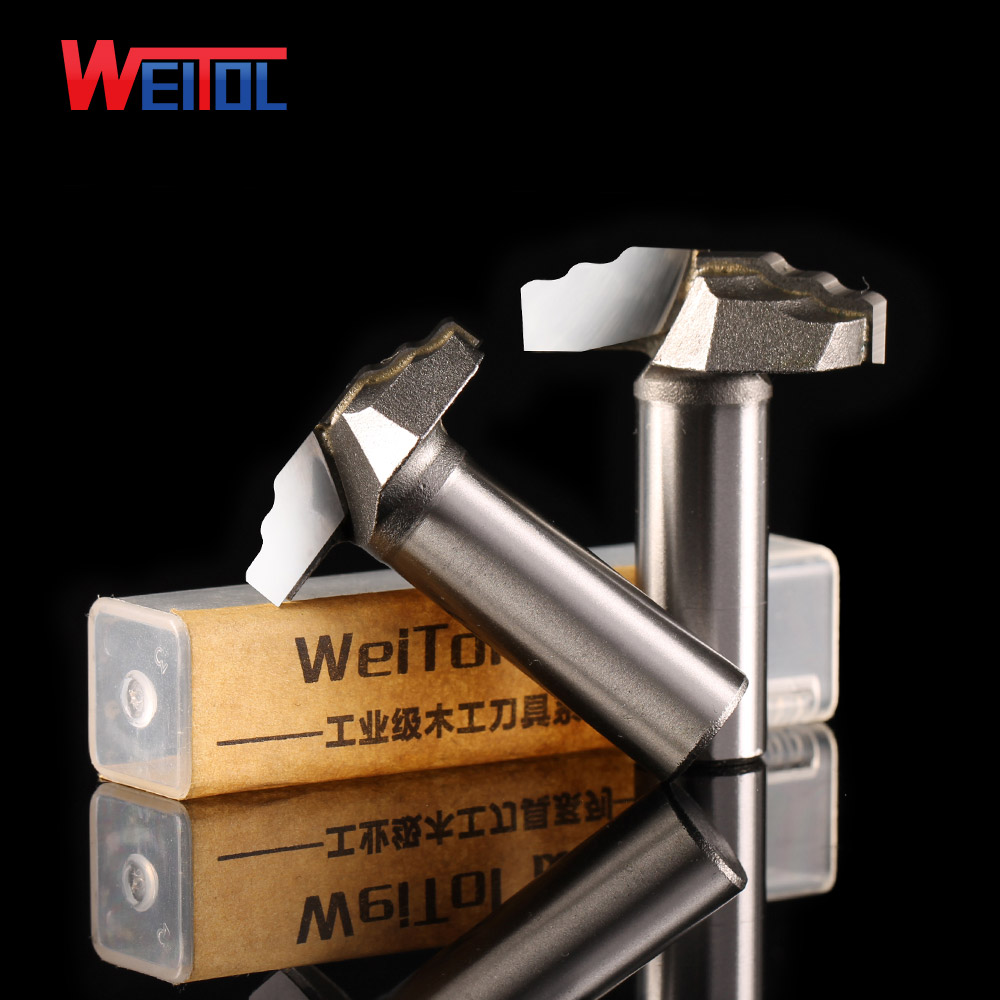 Weitol 1pcs 1/2inch Woodworking Cutter Double Edging Router Bits for wood carbide Laminated linear carving bit for Various wood high grade carbide alloy 1 2 shank 2 1 4 dia bottom cleaning router bit woodworking milling cutter for mdf wood 55mm mayitr