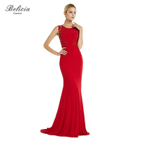 Belicia Couture Women Red Evening Dresses Appliques Beading Jersey Mermaid Party Long Prom Dresses Formal Celebrity