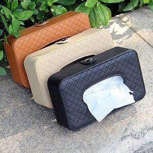 Image 3 - PU leather tissue box car tissue holder sun visor hanging napkin storage box, used for car finishing car accessories