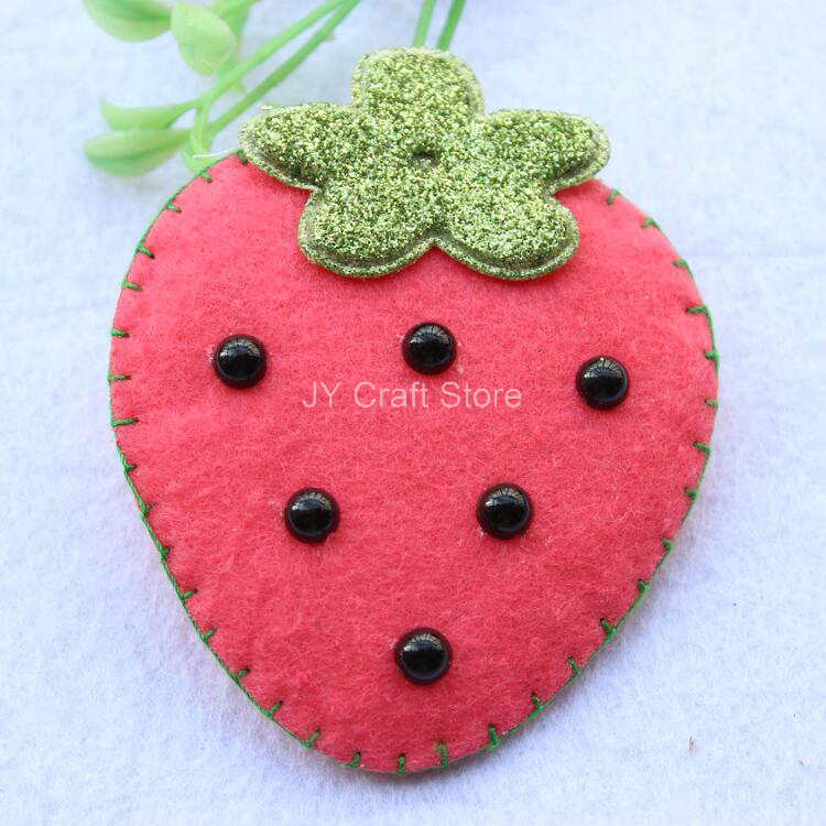 12pcs/lot Cute Strawberry handmade Sewing Fabric (3.3) w/padded Appliques Felt Patches for Festival Decor,DIY,Baby Toy,headband