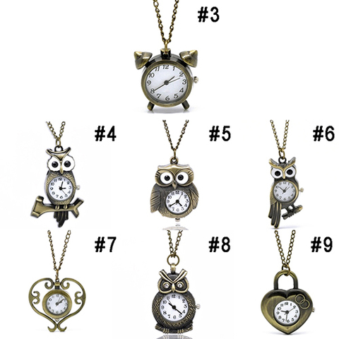 Bronze Necklace Owl Heart Quartz ket Gift Watch