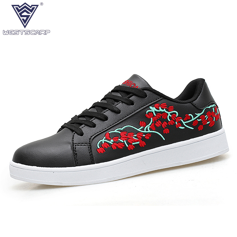 WEST SCARP Men PU Leather Shoes Spring Autumn Men's Casual Shoes Man Sapatos Masculinos,Lace UP Flower Embroidery Zapatos Hombre mycolen men s leather lace up dress shoes men business office oxfords man casual wedding flats shoes adult sapatos masculinos