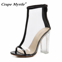 54a04e02e3 11CM High Heeled Rain Shoes Sexy PVC Transparent Boots Sandals Peep Toe  Shoes Clear Chunky Heels