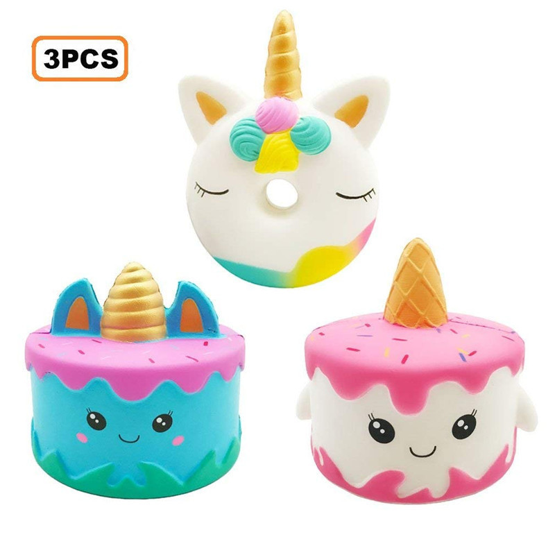 3PCS Jumbo Squishies Narwhale Cake Unicorn Donut Kawaii Squishy Slow Rising Cream Scented Soft Squeeze Toy for Kid Stress Relief 2pcs stress relief world map jumbo ball atlas globe palm ball planet earth ball stress relief slow rising squishies toys