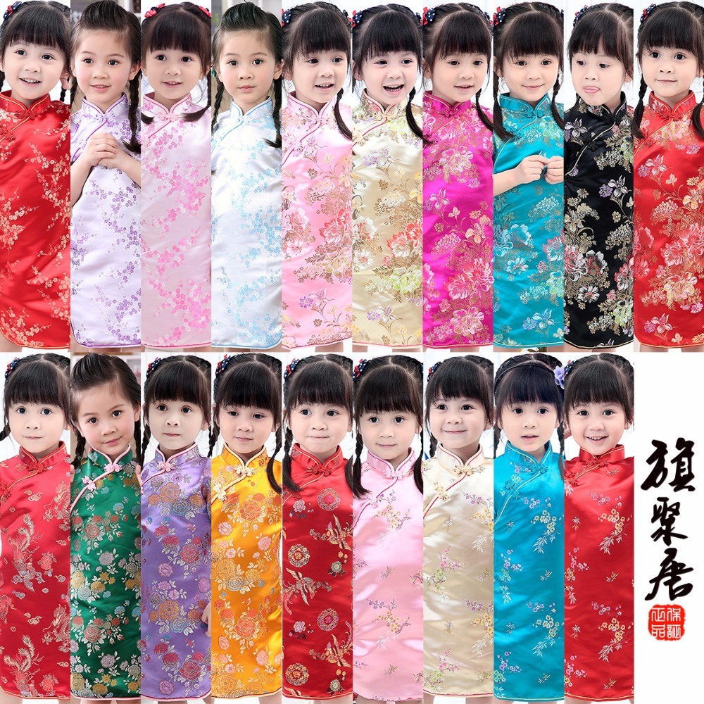 Floral Baby Qipao Girl Dresses Kid Chinese Style chi-pao cheongsam New Year gift Children's Clothes 3 pieces new chinese style spring winter girl boy baby brand fu cheongsam kid costume tangzhuang children set birthday cloth