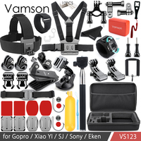 Vamson Accessories for Gopro Hero 6 5 4 3+ Kit Set Collection Box Helmet Strap Monopod Mount for Xiaomi Yi for SJ4000 VS123