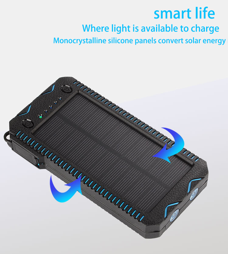 mah, With, LED, Solar, Baterry, Mobile