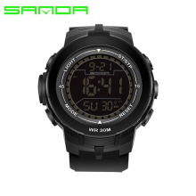 Top Brand SANDA Cool Black Mens Fashion Large Face Digital Swimming  Climbing Outdoor Man Sports Watches 2bb5d32095e