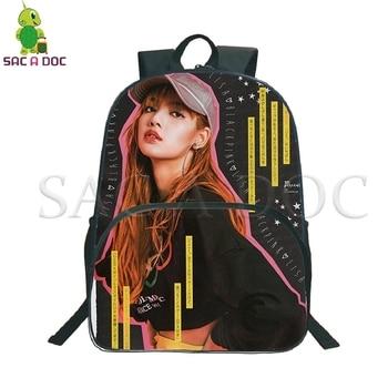 цены Blackpink Kpop Backpack Women Men Travel Rucksack Jisoo/Jennie/Rose/Lisa Daily Backpack Boys Girls School Bags Fans Gift