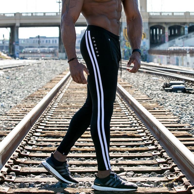 2019 Men's Casual Fitness Joggers Pants Gyms Stretch Cotton Men Skinny Sweatpants Slim Workout Zipper ankle trousers men