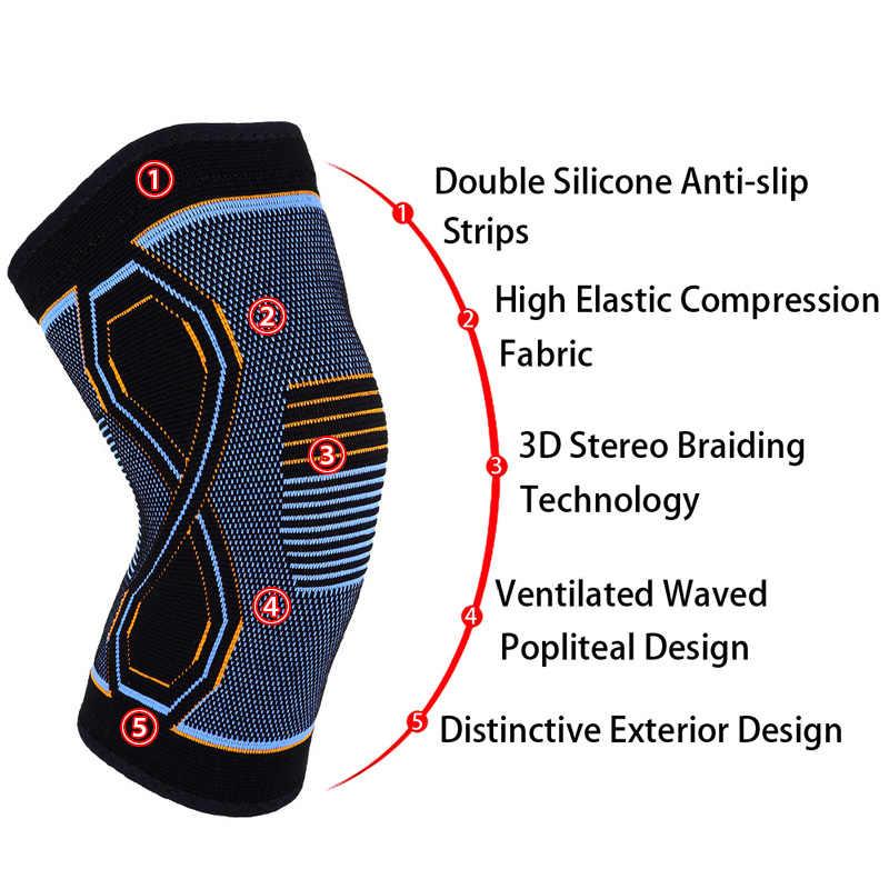 COYOCO 1 par deportivo rodillera de apoyo de 8 formas azul naranja patrón Kneepad rodilla cálida para alivio del dolor de articulaciones lesiones y recuperación