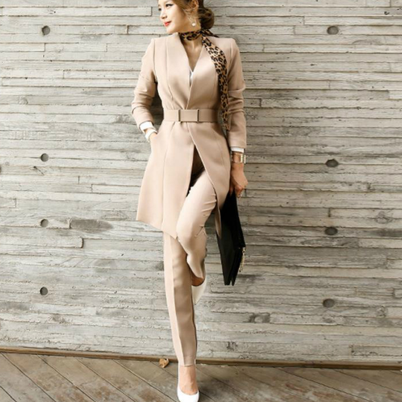 Women Fashion Office Clothes 2 Piece Set Long Blazer Jacket Pants Slim Waistband Outfit