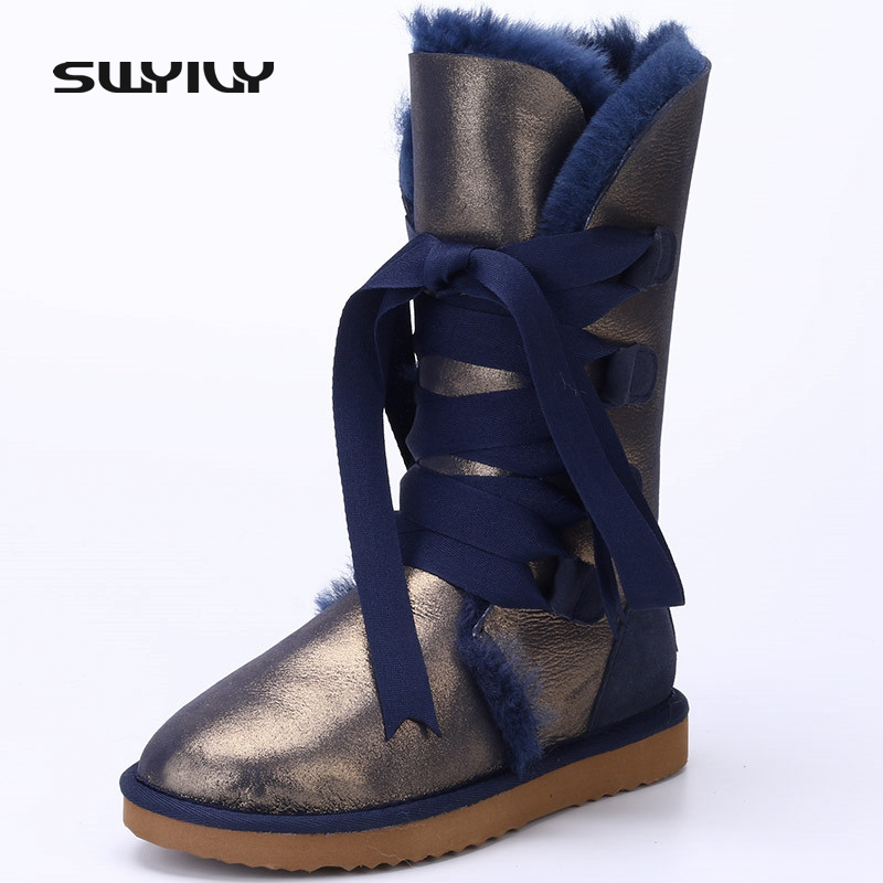Waterproof Bright Snow Boots Plus Size 40 Winter Boots Women Lacing Up Female Cotton-Padded Flat Shoes Botas Femininas Leopard