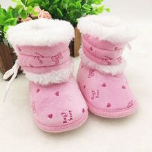 Купить с кэшбэком Infant Toddler Baby Prewalker Crib Boots Kids Girls Warm Winter Snow Shoes