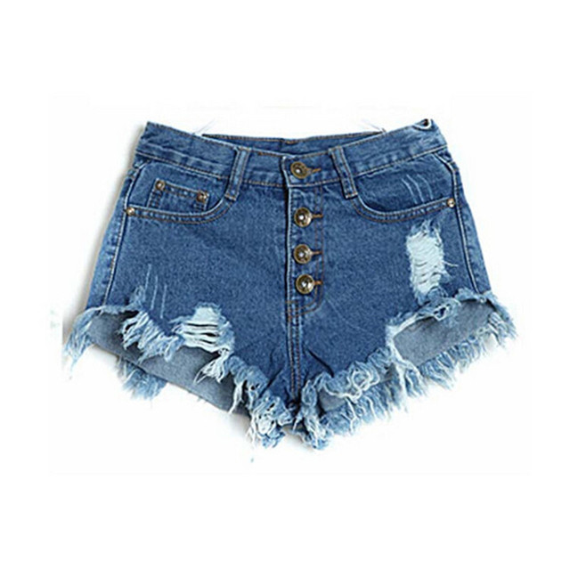 2016 Summer High Waist Solid Hot  Cowboy Shorts Hole Punk Rock Fashion High Waisted Denim Shorts Vintage Short Jeans Sexy Shorts