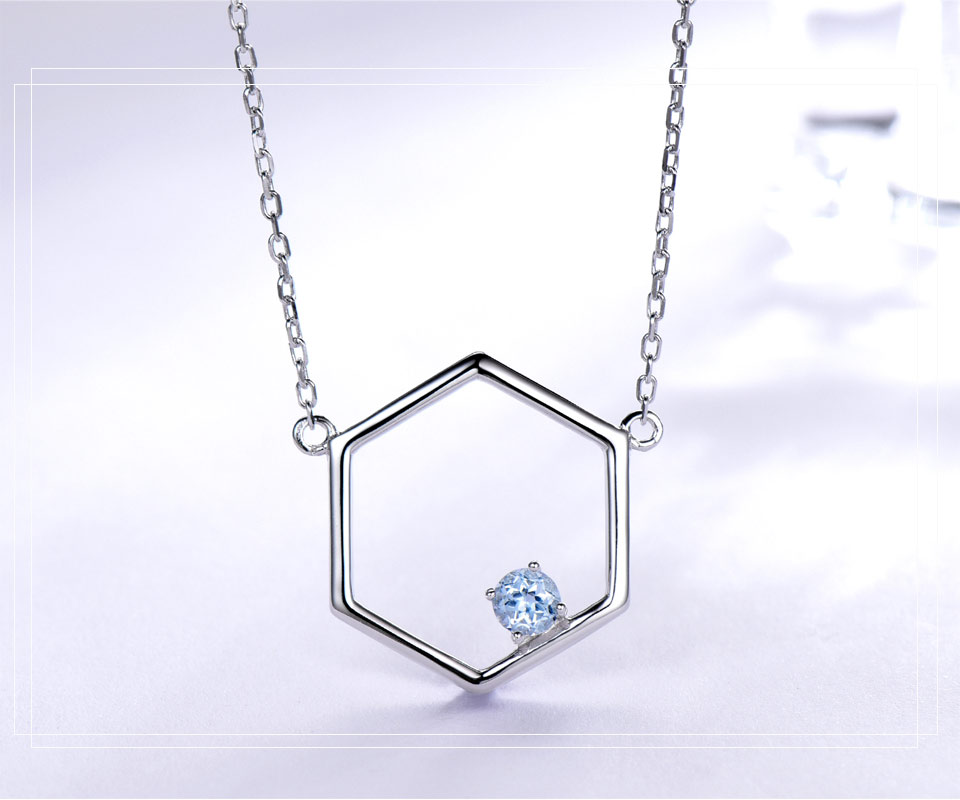 925 Sterling Silver Natural Blue Topaz Necklaces (3)