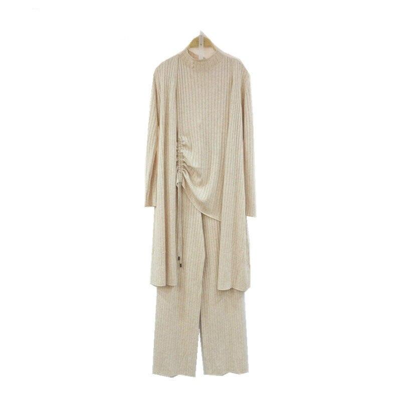 Décontracté Large Laine De 2019 Pantalon blanc Polyester Section 3 Trois Kaki Gilet Mode Pièce Costume Mince Femme gris Longue Tricoté noir jambe pièce Xw5ggInqx