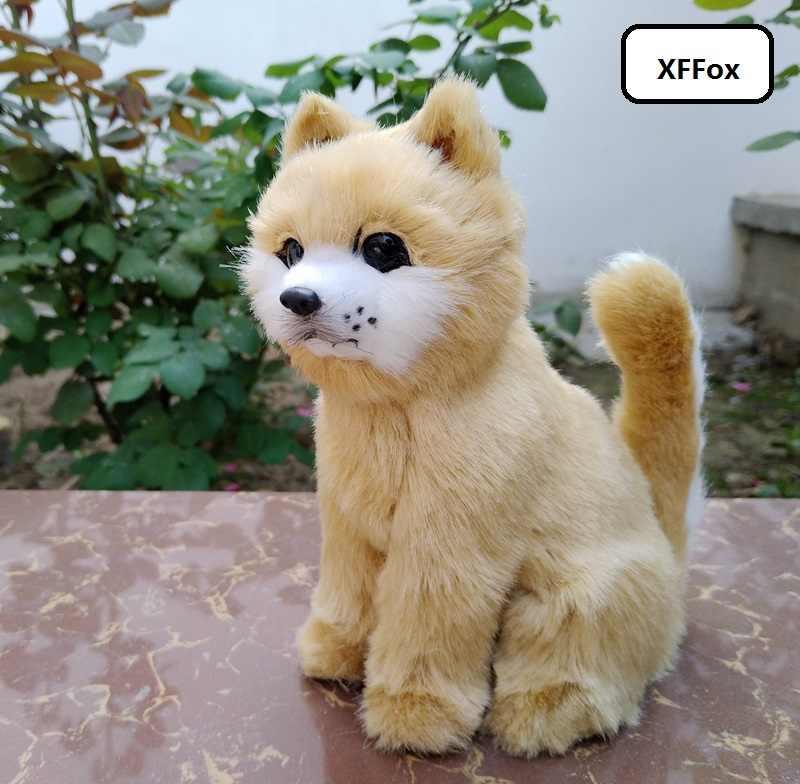 新しい現実の秋田犬モデルプラスチック & 毛皮リビング黄色犬の人形のギフト約 14 × 8 × 17 センチメートル xf1529