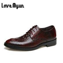 Moda para hombre zapatos de Cuero de Cocodrilo patrón 3 colores Oxfords pisos mens zapatos de vestir punta estrecha zapatos de Boda ocasionales AE-16