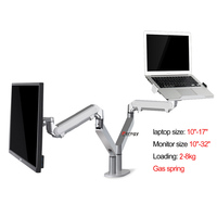 OZ 5X 17 32 aluminum full motion air press gas strut double monitor desktop stand Dual arm 360 rotate+10 17 laptop holder