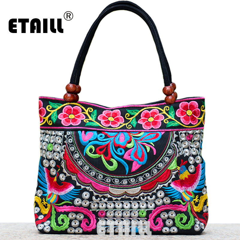2016 Vintage National Ethnic Embroidery Bags Indian Boho Embroidered Shoulder Bag Brand Bags Logo Handbags Women Sac a Dos Femme national embroidered bags embroidery unique shoulder messenger bag vintage hmong ethnic thai indian boho clutch handbag 25 style