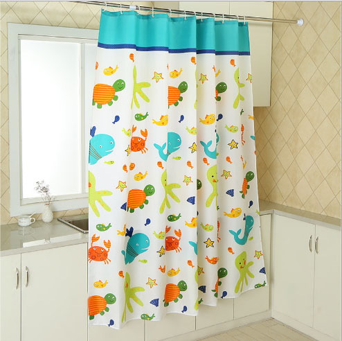 Resistant Fabric Shower Curtain Waterproof And Antibacterial Cartoon Fish Pattern In Curtains From Home Garden On Aliexpress