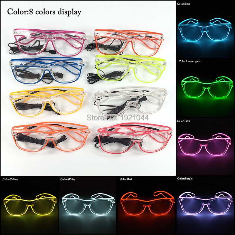 100pcs EL Wire Flashing Sunglasses with transparent lens with Steady on Driver Wholesale LED neon rope tube for Party Supplies100pcs EL Wire Flashing Sunglasses with transparent lens with Steady on Driver Wholesale LED neon rope tube for Party Supplies