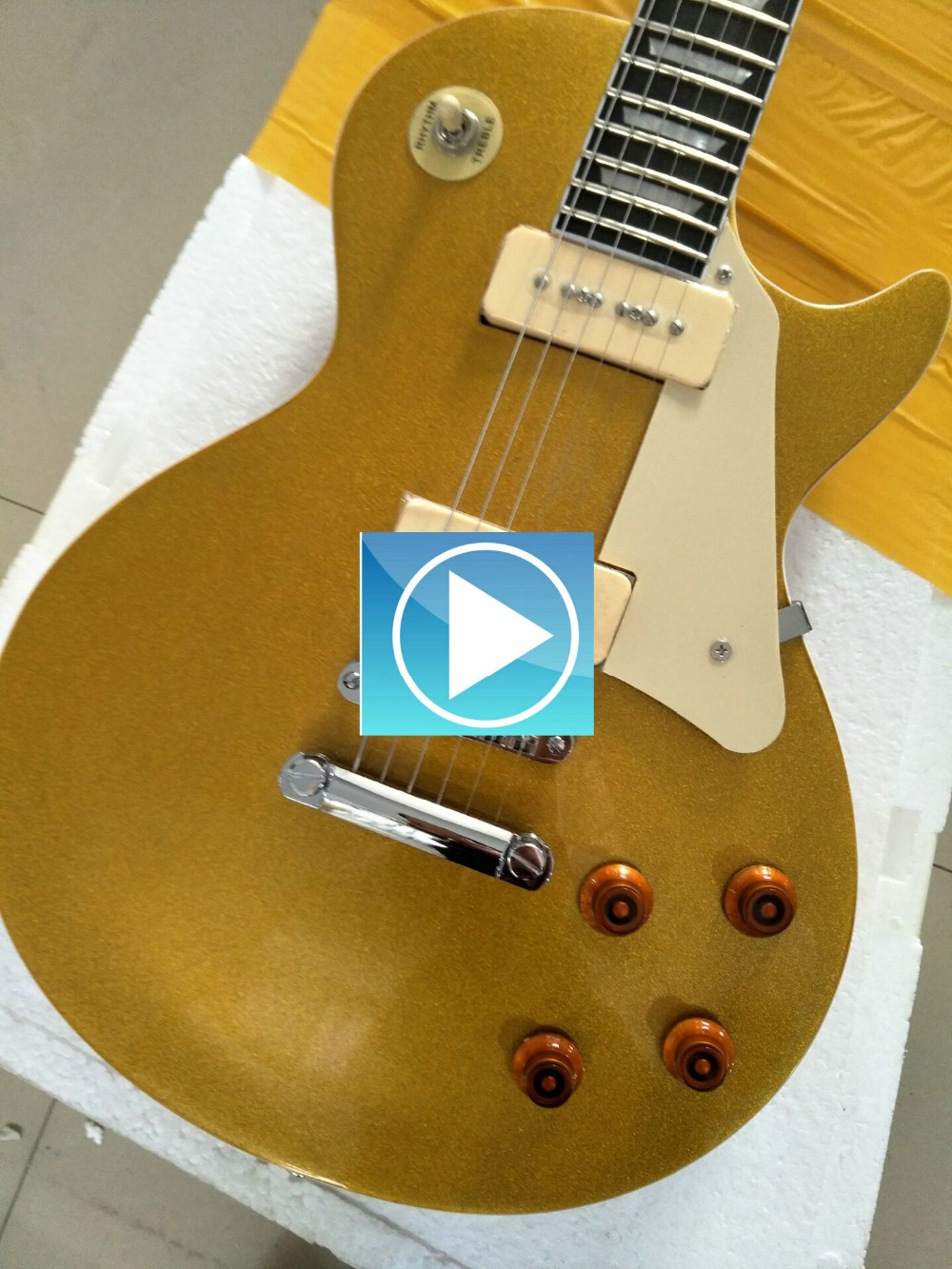 human Wholesale les New paul Custom Shop gold color Electric Guitar paul ebony Fretboard China Guitar Factory Free Shipping