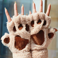 2016 Women Lovely Winter Fluffy Cat Paw Gloves Lady Girls' Half Finger Covered Bear Fur Mittens	Christmas' Valentines Day Gift