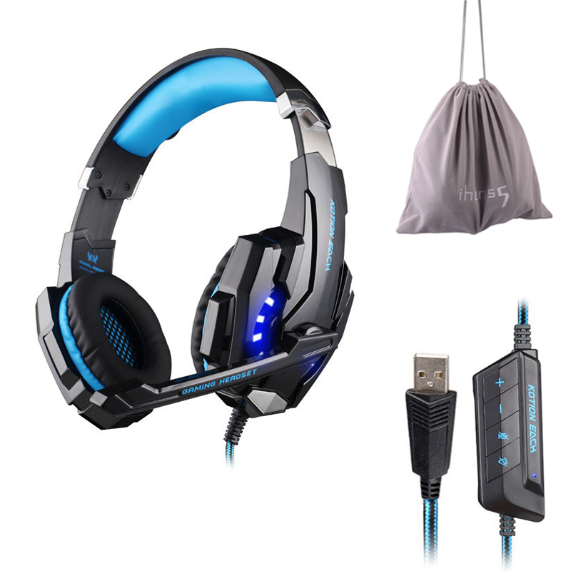 KOTION EACH G9000 USB 7.1 Surround Sound Game Gaming Headphone Computer Headset Earphone Headband with Microphone LED Light