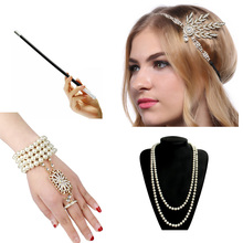 1920 Charleston Party Flapper Girl Strass Hoofdband Parel Ketting Armband Sigarettenhouder Great Gatsby Accessoires Set