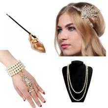 1920s Charleston Party Flapper Girl Rhinestone Headband Pearl Necklace Bracelet Cigarette Holder Great Gatsby Accessories Set