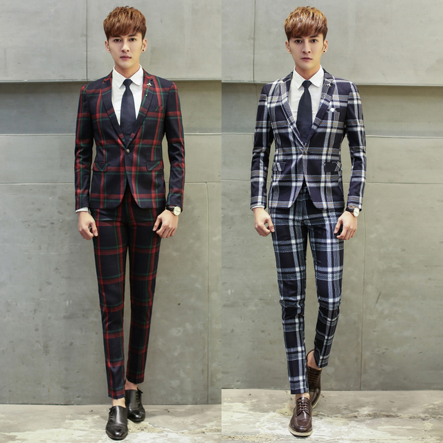 Aliexpress.com : Buy 2016 Mens Suits Slim Fit 3 Piece Plaid Suits ...